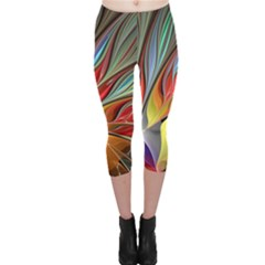 Fractal Bird of Paradise Capri Leggings