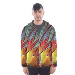 Fractal Bird Of Paradise Hooded Wind Breaker (men)