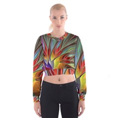 Fractal Bird Of Paradise 2  Women s Cropped Sweatshirt