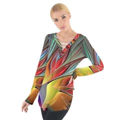 Fractal Bird of Paradise Women s Tie Up Tee