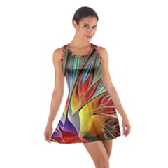 Fractal Bird Of Paradise Cotton Racerback Dress