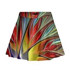 Fractal Bird of Paradise Mini Flare Skirt