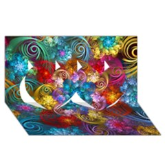 Spirals And Curlicues Twin Hearts 3D Greeting Card (8x4)