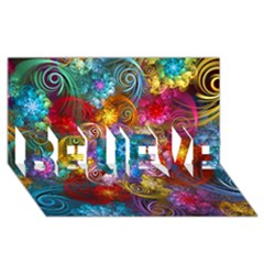 Spirals And Curlicues BELIEVE 3D Greeting Card (8x4)