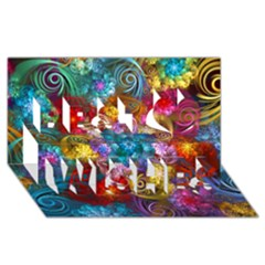 Spirals And Curlicues Best Wish 3D Greeting Card (8x4)