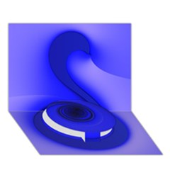 Blue Spiral Note Circle Bottom 3D Greeting Card (7x5)
