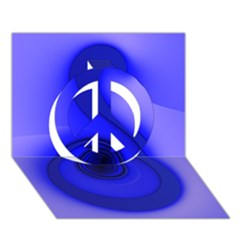 Blue Spiral Note Peace Sign 3D Greeting Card (7x5)
