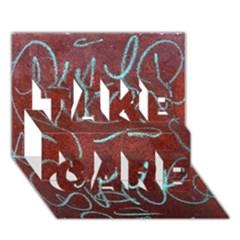 Urban Graffiti Rust Grunge Texture Background TAKE CARE 3D Greeting Card (7x5)