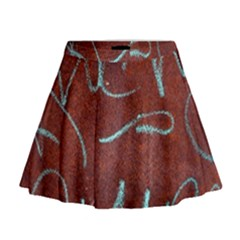Urban Graffiti Rust Grunge Texture Background Mini Flare Skirt