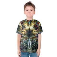 Metallic Abstract Flower Copper Patina Kid s Cotton Tee