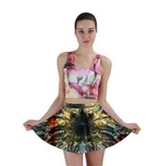 Metallic Abstract Flower Copper Patina Mini Skirt