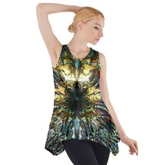 Metallic Abstract Flower Copper Patina Side Drop Tank Tunic