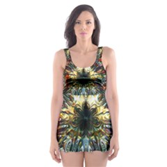 Metallic Abstract Flower Copper Patina Skater Dress Swimsuit