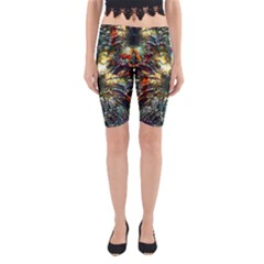 Metallic Abstract Flower Copper Patina Yoga Cropped Leggings
