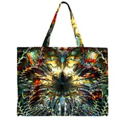 Metallic Abstract Flower Copper Patina Large Tote Bag
