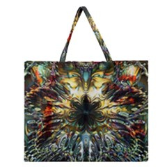 Metallic Abstract Flower Copper Patina Zipper Large Tote Bag