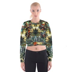 Metallic Abstract Flower Copper Patina Women s Cropped Sweatshirt