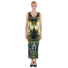 Metallic Abstract Flower Copper Patina Fitted Maxi Dress