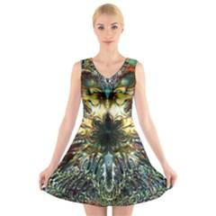 Metallic Abstract Flower Copper Patina V Neck Sleeveless Skater Dress