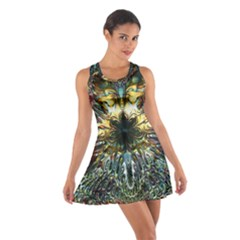 Metallic Abstract Flower Copper Patina Racerback Dresses