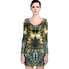 Metallic Abstract Flower Copper Patina Long Sleeve Velvet Bodycon Dress