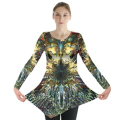 Metallic Abstract Flower Copper Patina Long Sleeve Tunic