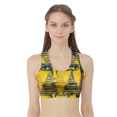 Conundrum Ii, Abstract Golden & Sapphire Goddess Women s Sports Bra with Border
