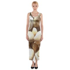 Tropical Exotic Sea Shells Fitted Maxi Dress