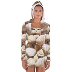 Tropical Exotic Sea Shells Women s Long Sleeve Hooded T-shirt