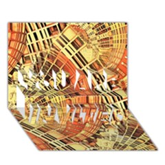 Semi Circles Abstract Geometric Modern Art orange YOU ARE INVITED 3D Greeting Card (7x5)