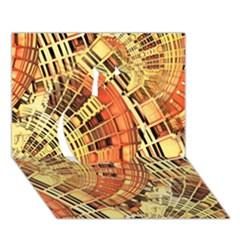 Semi Circles Abstract Geometric Modern Art orange Apple 3D Greeting Card (7x5)