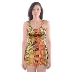 Semi Circles Abstract Geometric Modern Art orange Skater Dress Swimsuit
