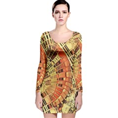 Semi Circles Abstract Geometric Modern Art Orange Long Sleeve Velvet Bodycon Dress