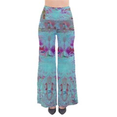 Retro Hippie Abstract Floral Blue Violet Pants