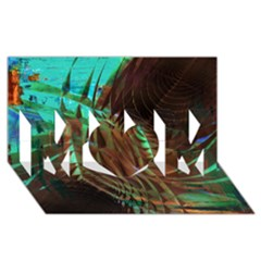 Metallic Abstract Copper Patina  MOM 3D Greeting Card (8x4)