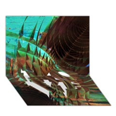 Metallic Abstract Copper Patina  LOVE Bottom 3D Greeting Card (7x5)