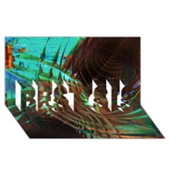 Metallic Abstract Copper Patina  BEST SIS 3D Greeting Card (8x4)