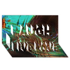 Metallic Abstract Copper Patina  Laugh Live Love 3D Greeting Card (8x4)