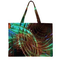 Metallic Abstract Copper Patina  Large Tote Bag