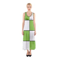 Black White Green Modern Square Color Block Pattern Sleeveless Maxi Dress