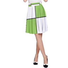 Black White Green Modern Square Color Block Pattern A-Line Skirt