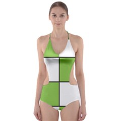 Black White Green Modern Square Color Block Pattern Cut-Out One Piece Swimsuit