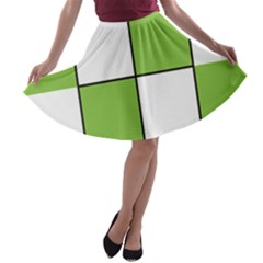 Black White Green Modern Square Color Block Pattern A Line Skater Skirt