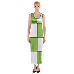 Black White Green Modern Square Color Block Pattern Fitted Maxi Dress