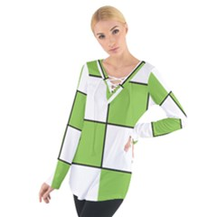Black White Green Modern Square Color Block Pattern Women s Tie Up Tee