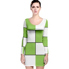 Black White Green Modern Square Color Block Pattern Long Sleeve Velvet Bodycon Dress