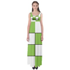 Black White Green Modern Square Color Block Pattern Empire Waist Maxi Dress