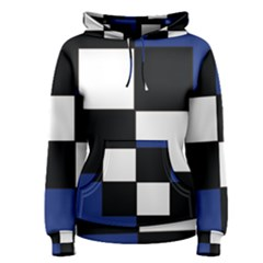 Black White Navy Blue Modern Square Color Block Pattern Women s Pullover Hoodie
