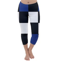 Black White Navy Blue Modern Square Color Block Pattern Capri Winter Leggings
