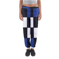 Black White Navy Blue Modern Square Color Block Pattern Women s Jogger Sweatpants